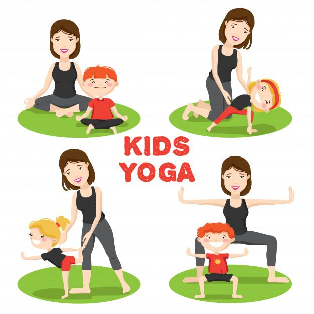 Little kids first yoga asanas poses outdoor grass with mother cartoon icons 1284 8663